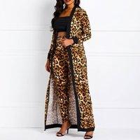 Clocolor Kadınlar Takım Elbise Setleri Seksi Leopar Baskı Bayanlar Bahar Sonbahar Uzun Kollu Coat Pantsuits Rahat Moda Pantolon Kıyafetler LJ201126