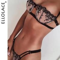 Ellolace Sexy Wäsche-Satz-Spitze-Stickerei BH und Panty Set Transparent Bra Frauen-Unterwäsche durchschauen Lingeries