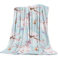 Cobertores flor borboleta flor de cerejeira rosa lance cobertor desenhos animados sofá lã / cama / Plane viajar mantas roupas de cama11
