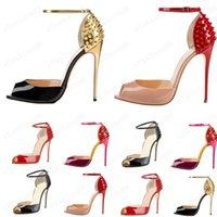 2021 Mulheres Lacing Moda Rebite Saltos Altos Vestido Vermelho PEEP Peep Toe Shoes Super High Heel Sandálias Spiked Diamante Bomba 10cm Tamanho 34 -42