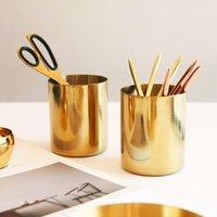 Edelstahlbürste Topf Vintage Einfachheit Desktop Ornamente Vasen Überzogene Gold Nordische Art Multifunktions-Speicher-Tasse Neue Ankunft 18YH K2