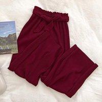 Plieged Wide Pierna Cinturón de lazo Mujeres Pantalones Sólido Cintura Alta Elegante Oficina Pantalones Pantalones 2020 Verano Casual Fondos Folleto Femenino1