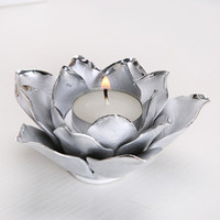 Nordic Candles Holder Plating Silver Gold Lotus Rose Shape Candlestick Valentino Festival di nozze Casa Tealight Candele Decor PPD3141