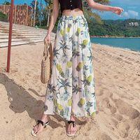 여성 바지 카프리스 여름 여성 휴가 바지 해변 탄성 허리 보헤미안 꽃 인쇄 9 팬츠 레트로 부드러운 여성 넓은 다리 바지