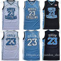 Erkekler NCAA Kuzey Carolina Tar Topuklu 23 Michael Jersey UNC Koleji Basketbol Formaları Siyah Beyaz Mavi Ücretsiz Kargo