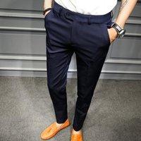 Homens sólidos Negócios Calças Terno Calças Homens Pantaloni Uomo Casual Negro Negócio Escritório Slim Fit Casual