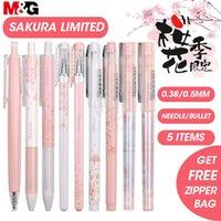 MG Sakura Pink Cute Cute Kawaii Gel Pen Set Black Gel чернила ручки 0,5 мм 0,38 мм выдвижной для школьных принадлежностей Gelpen канцелярские ролики 201202