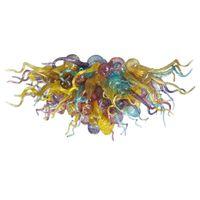 멀티 컬러 핸드 메이드 블로우 무라노 램프 샹들리에 럭셔리 컬러 천장 장식 조명 E14 현대 LED 샹들리에 아트 유리 펜던트