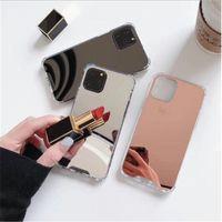 2021 صدمات tpu pc for iphone 12 mini 11 × xr xs برو ماكس 6 7 8 زائد حالة المكياج مع مرآة غطاء مرآة الأزياء حالة الهاتف