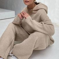 Tracksuits pour femmes 2021 Automne hiver tricoté deux pièces Sweatershirt Set Femme large pantalon de jambe costume en vrac gris solide décontracté 2 tracksuit