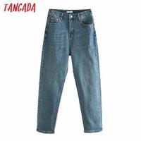 Tangada 2020 Fashion Women High Waist Jeans Pants Long Trousers Pockets Buttons Female Denim Pants 6P19