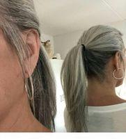 Gergous Glatt silbergrau grauer Pferdeschwanz Zwei Ton geschmolzener natürlicher Highlight Salz und Pfeffer Human Hair Graues Pony-Schwanz-Haar-Stück