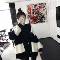 Donne Knits Tees 2021 Autunno e inverno Lantern Sleeve Black Bianco Bianco Striscia Mulino Striscia Maglione di lana Cardigan Ashencoat