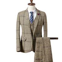 Blazers брюки жилет комплекты / мода мужская повседневная бутик бизнес плед костюм куртка пальто брюки жилет 3 штуки наборы C18122501