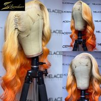 Body Wave HD transparent ombre 613 Blonde Gingembre Orange Ginger 13x6 Dentelle Front Human Hair Perruques Perruque Prefurée Yellow Permue frontale