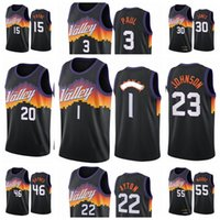 FénixSolesHombres devinBooker DeandreAyton 3 Chris Paul 2020/21 Swingman City Basketball Jersey Negro Nuevo uniforme