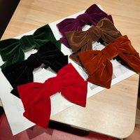 Zarif Retro Siyah Kadife Yay Firkete Kore Siyah Kırmızı Ilmek Hairbands Bantlar Kadınlar Kız Parti Hediyeler Için