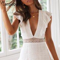 Fargeous mulheres elegante branco bordado vestido curto verão sexy v backless lace up vestido feminino festa de cintura alta vestidos y200623