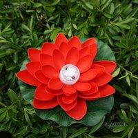 Dekoratif Çiçekler Çelenkler 2 Parça Kırmızı Uzaktan Kumanda Yapay Su Geçirmez Lotus Lily Yaprak Renk LED RGB Dalgıç Işık Gölet Düğün