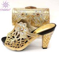ClearLUV Yeni Moda İtalyan Ayakkabı Eşleşen Çanta Ile Afrika Yüksek Topuk Kadın Ayakkabı Ve Çanta Balo Parti Y200702 için Set