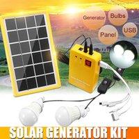 3W لوحة للطاقة الشمسية ضوء الطوارئ كيت، مولد الشمسية 4 رؤساء شاحن USB كابل مع 2 أدى ضوء لمبة للتخييم في الهواء الطلق 1