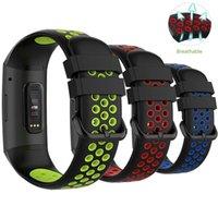 Fitbit 충전 3/4 통기성 액세서리 밴드를위한 교체 시계 스트랩 Fitbit 충전 3E 4E 4E 실리콘 밴드