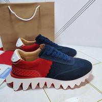 2021 Vermelho Bottom Calçados Spikes Loubishark Moda Sneakers Donna Tiketa Slip-on Corredores Sneakers Couro Flat com Treinadores Krystal