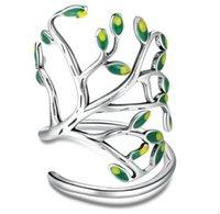 925 Sterling Silver Tree of Life Tree Green Tree Leaves Anelli dito regolabili per le donne Semplice anello aperto
