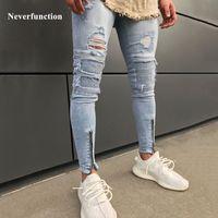 Neverthfunction Moda Ginocchiera Fori Biker Jeans Strappato Hember Zipper Skinny Distrutto Hip Hop Uomini Denim Pantaloni da joggers Pantaloni