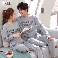 Bzel Couple Pajama met en place une lettre de coton Pijamas Sleepwear Son-et-sa costume de maison Pajama pour les amoureux de l'homme des amants M-3XL1