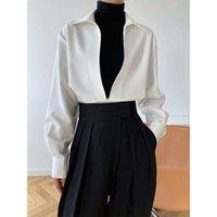 6tluxi 2021 Primavera New Dign Dign Light Mature Manica lunga con scollo a V Shirt da donna Sovrapposizione di moda Top 677