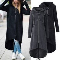 Cropkop Fashion de manga larga con capucha de manga larga Abrigo otoño negro cremallera más tamaño 5xl terciopelo abrigo largo mujer abrigo ropa de abrigo 201028