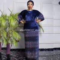 Этническая одежда 2 кусок наборов Верхов и юбка 2021 Весна Осень Африка Мусульманское Длинное Maxi Платье Высокое Качество Мода Африканский Для Леди