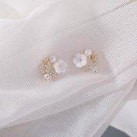 Pendientes de japonés japonés japonés flor de carcasa dulce pliegues lindos para mujer microprocesado anillo de circón en forma de v Female 1