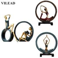 Resina vilead abstrato yoga figurine criativo menina miniaturas lindo modelo para casa decoração decoração casamento t200703