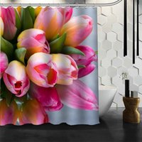 New Arrival Tulips Flower Shower Curtain Polyester Fabric Printing Bathroom Curtain 3D Waterproof Bathroom Products With Hook