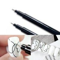 1 pz impermeabile nail art graffiti penna pittura nera disegno sottile linea sottile gel uv gel lucido design dot pittura dettaglio penna penna