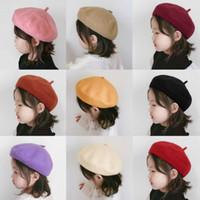 12 ألوان الخريف كوريا الجنوبية الأطفال طفل قبعة القبعات البريطانية برعم الصوف النقي كاب الكورية المد الدعائم التصوير الفوتوغرافي الوليد