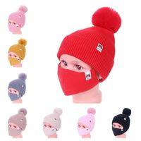 للأطفال الشتاء الدافئة بيني تزلج الفتيات محبوك قبعة قبعة القبعات مع قناع الوجه 2 قطعة بدلة الدراجات الرياضة slouchy أغطية الرأس E112306