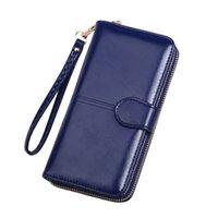 En Yeni balmumu yağı cilt uzun fermuar cüzdan kartvizit çanta çok fonksiyonlu bayan debriyaj cep telefonu cüzdan