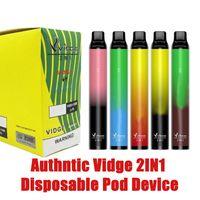 Authntic vidge 2in1 Dispositivo de vagem descartável 3ml + 3ml 2000 Puff Portable pod 950mah 2 em 1 jogo de caneta vazio vs ezza alfaa onee stick plus dhl free