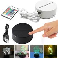 3D LED 야간 조명 USB 7 컬러 터치 스위치 3D 광학 환상 램프 참신 3D 아크릴 테이블 램프 176 패턴 옵션