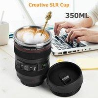 أكواب 350lm الفولاذ المقاوم للصدأ drinkware فنجان القهوة الكؤوس الإبداعية الهدايا الجدة SLR عدسة الكاميرا شكل