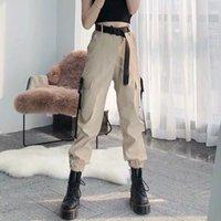 Anperentin Mode Frauen Selbstgriffe Elastische Taille Fracht Hosen Weibliche Lose Streetwear Hosen Beiläufige Plus Größe Koreanische Stilhose 201106