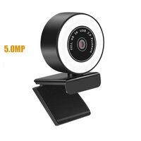 HD 1080P 2K Webcam com Microfone Fill Light para Desktop Mini Web Câmeras 360 ° Rotatable para Vídeo Live Chamada Conferência Trabalho