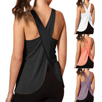 2020 New Women Quick Dry Cross Back Yoga Shirts Sleeveless F...