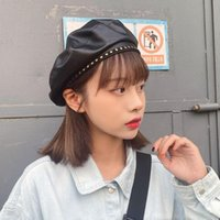 PU Leather Lolita Beret Hat for Women Fall Winter Boinas French Designer Painter Octagonal Cap Brimless Baret with Stars
