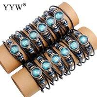 Charme Armbänder YYW Punk Zodiac Frauen Männliche Paar Unisex Wrap Armband Hämatit Stein-Konstellation 3-Reihen Multi Layer Rindsleder