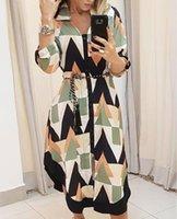 المرأة فستان طويل نمط هندسي الخامس الرقبة اللون مطابقة قميص مع حزام غير المتماثلة التباين اللون جولة قميص تنورة
