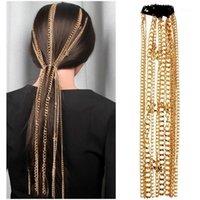 Clip per capelli Barrettes Trovami stelle Catena nappa 2021 Moda Gioielli Accessori Geometrici Lunghe catene in alluminio per le donne Copricapo1